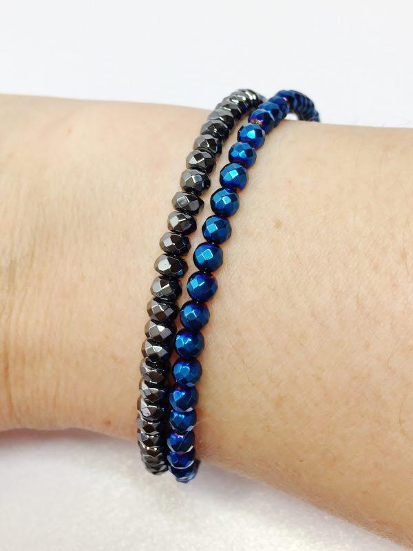 Mens Cobalt Blue Hematite Sterling Silver Bracelet