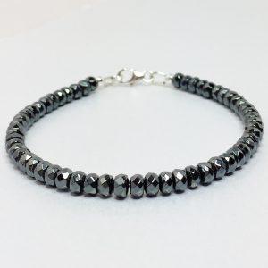 Mens Black Hematite Sterling Silver Bracelet.