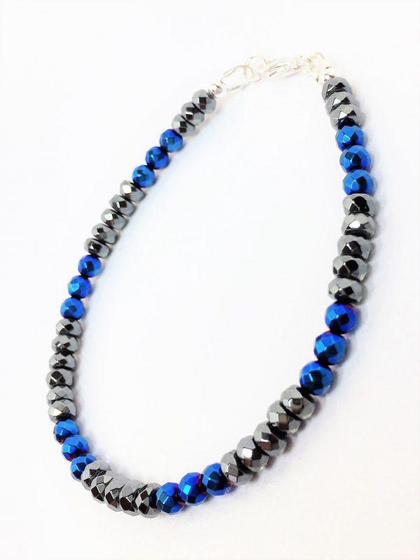 Blue Black Mens Hematite Bracelet