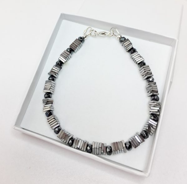 Mens Silver Black Hematite Sterling Silver Bracelet