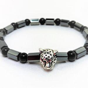 Mens Black Hematite Stretch Jaguar Bracelet