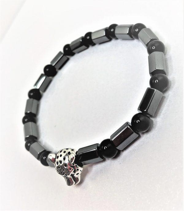 Mens Black Hematite Stretch Jaguar Bracelet
