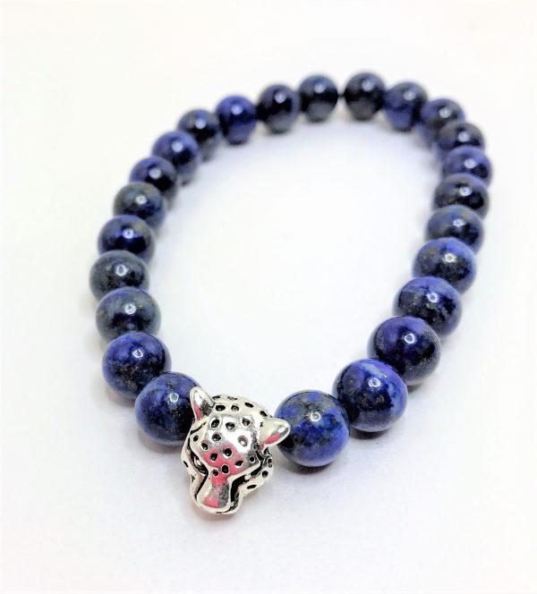 Mens Blue Lapis Lazuli Stretch Jaguar Bracelet