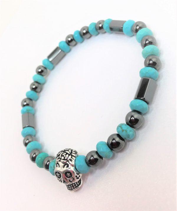 Mens Turquoise Hematite Stretch Skull Bracelet