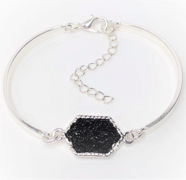 Black Druzy Minimalist Bracelet