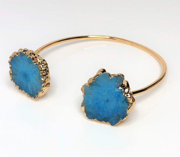Blue Druzy Geode Agate Cuff