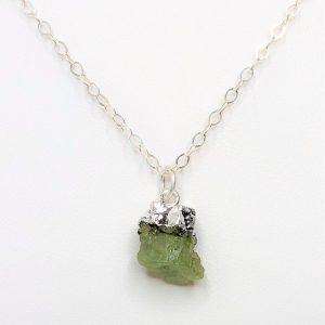 Natural Peridot Raw Stone Pendant
