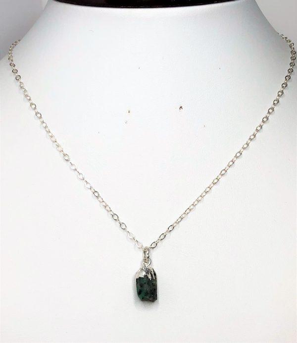 Natural Emerald Stone Sterling Silver Pendant