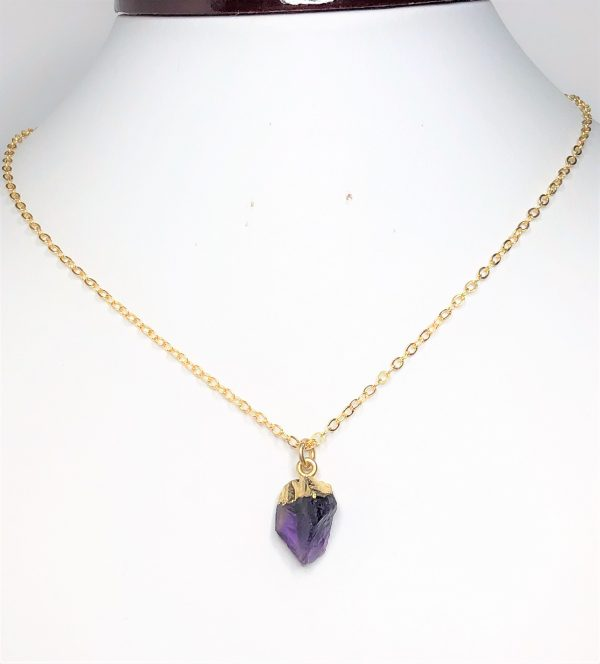 Amethyst Raw Stone Gold Filled Pendant