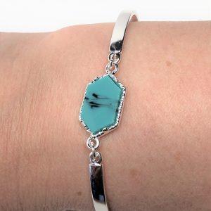 Blue Howlite Minimalist Silver Bracelet