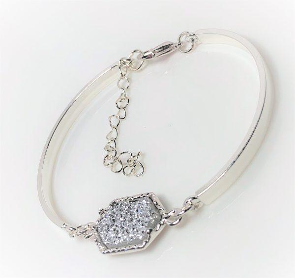 Silver Druzy Quartz Minimalist Bracelet