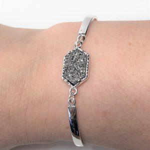 Dark Silver Druzy Minimalist Bracelet