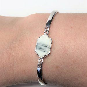 White Howlite Minimalist Silver Bracelet