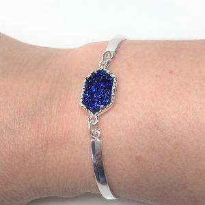Cobalt Blue Druzy Minimalist Bracelet