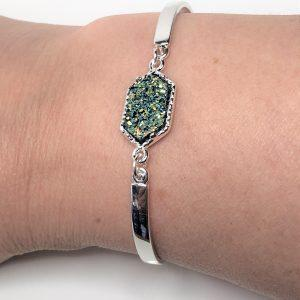 Rainbow Titanium Druzy Minimalist Bracelet