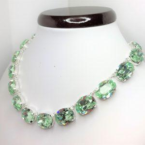 Green Chrysolite Georgian Collet Swarovski Necklace