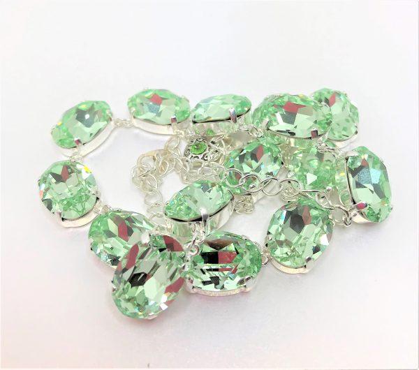 Green Chrysolite Georgian Collet Swarovski Necklace
