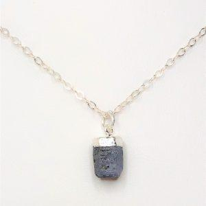 Raw Stone Sapphire Sterling Silver Pendant