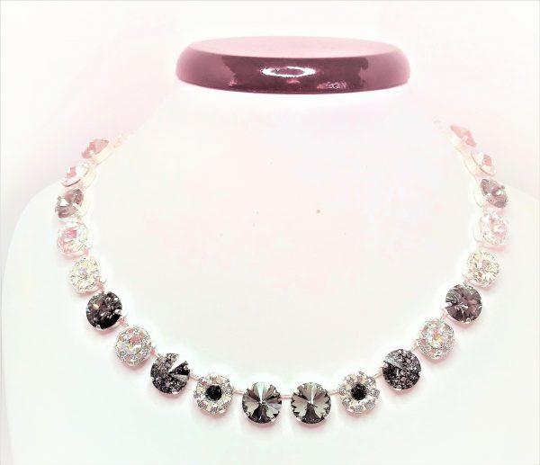 Black Diamond Swarovski Flower Necklace