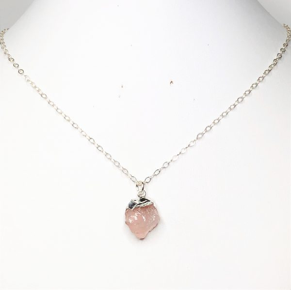 Raw Rose Quartz Sterling Silver Pendant