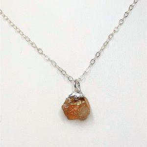Dainty Raw Citrine Sterling Silver Pendant