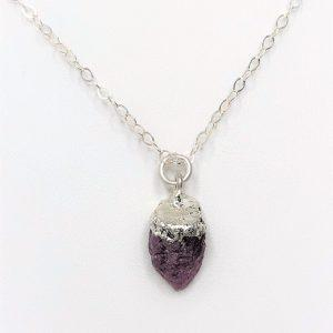 Natural Raw Stone Ruby Sterling Silver Pendant