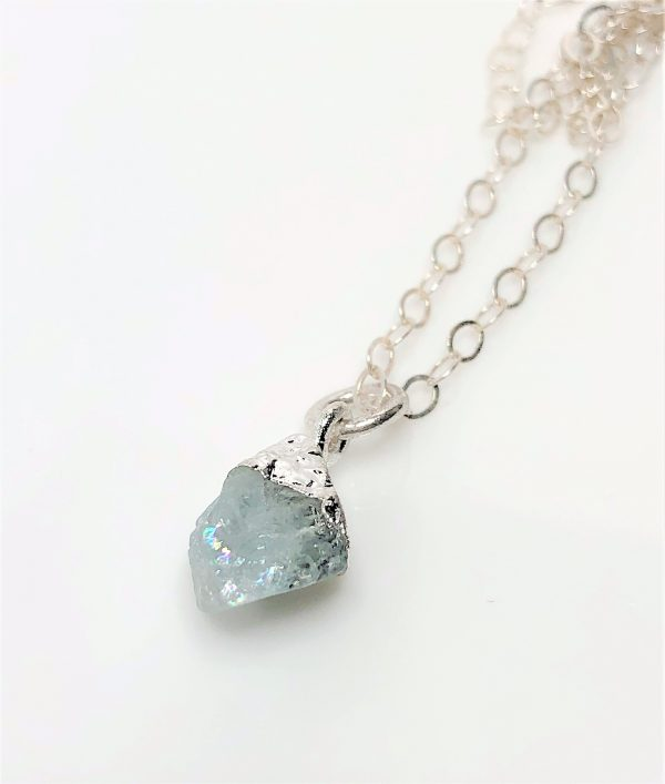 Aquamarine Natural Stone Sterling Silver Pendant