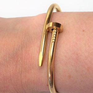 Gold Plated Nail Love Bangle