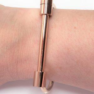 Rose Gold Screw Bar Bangle Bracelet