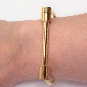 Gold Screw Bar Bangle Bracelet