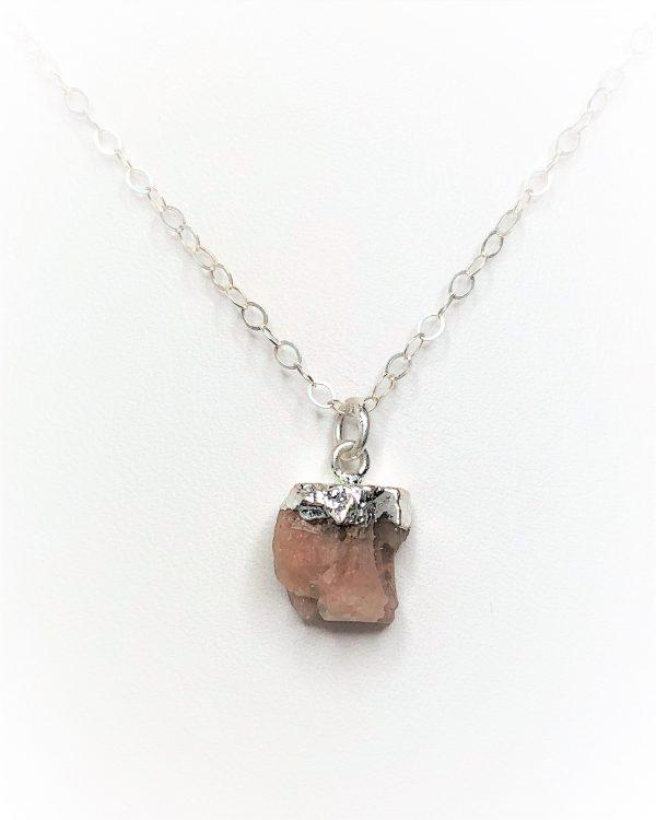 Raw Sunstone Sterling Silver Nugget Pendant