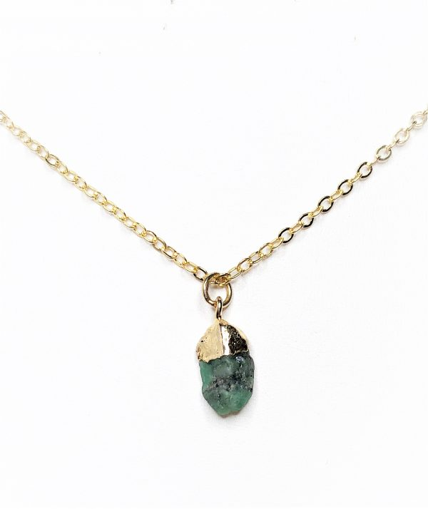 Raw Stone Emerald Gold Filled Pendant
