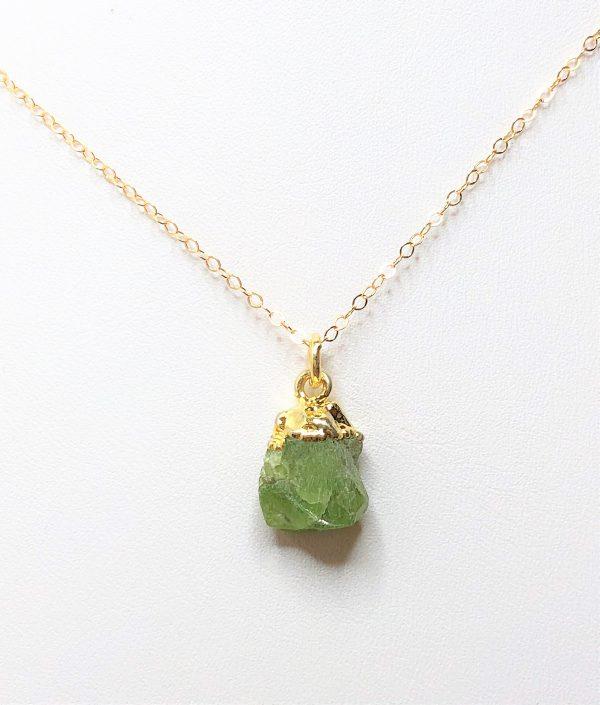 Raw Stone Peridot Gold Filled Pendant