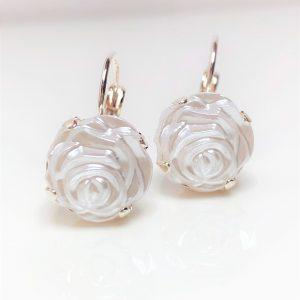White Rose Resin Silver Earrings