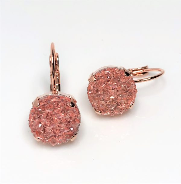 Champagne Druzy Resin Lever Back Earrings
