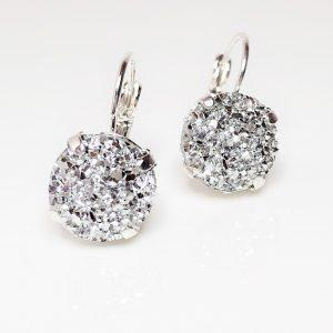 Silver Druzy Resin Lever Back Earrings