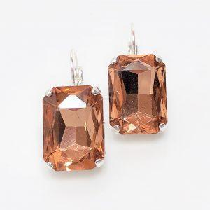 Light Peach Glass Crystal Octagon Earrings