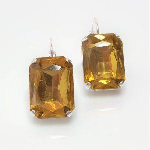 Topaz Glass Crystal Octagon Earrings