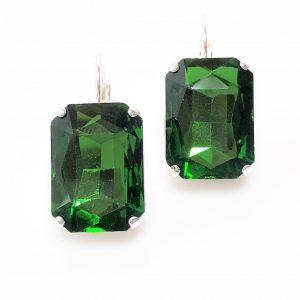 Emerald Green Glass Crystal Octagon Earrings