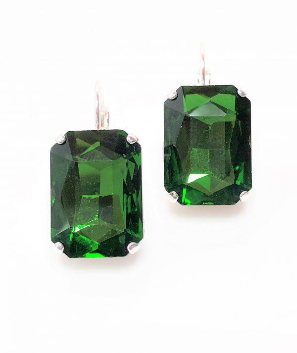 Emerald Green Glass Crystal Octagon Earrings