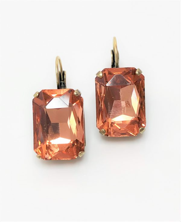 Light Peach Glass Crystal Octagon Brass Earrings