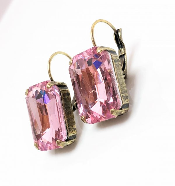 Light Rose Glass Crystal Octagon Brass Earrings