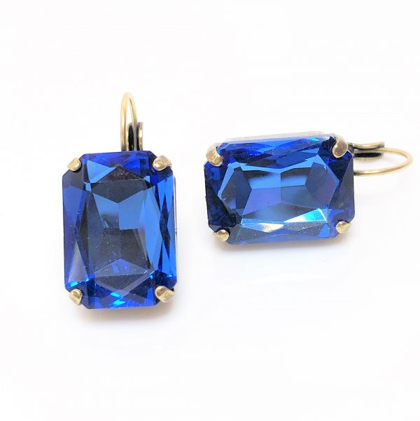 Sapphire Glass Crystal Octagon Brass Earrings