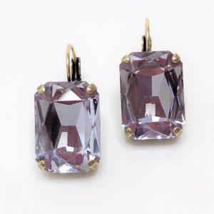 Light Amethyst Glass Crystal Octagon Brass Earrings