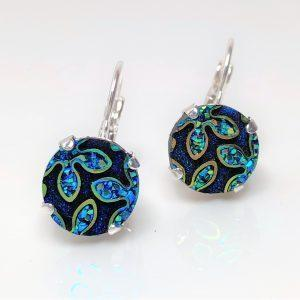 Blue Green Peacock Resin Lever Back Earrings