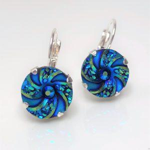 Blue Green Swirl Resin Lever Back Earrings