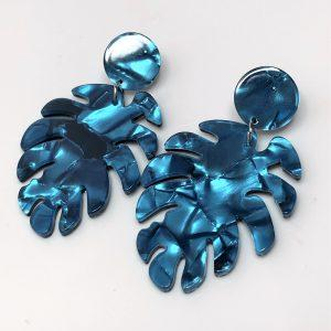 Blue Leaf Resin Tortoise Shell Earrings