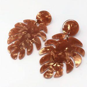 Gold Leaf Resin Tortoise Shell Earrings
