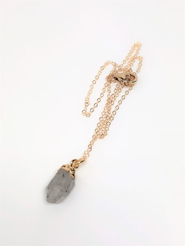 Herkimer Diamond Raw Stone Gold Filled Pendant