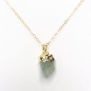 Aquamarine Natural Stone Gold Filled Pendant